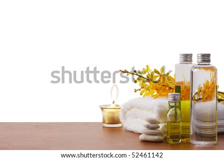 health spa setting with copy space