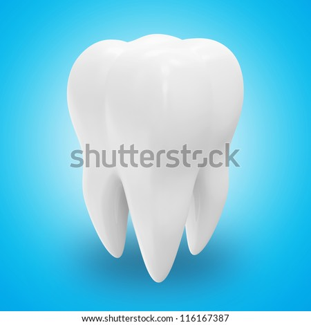Health Tooth on blue background - stock photo