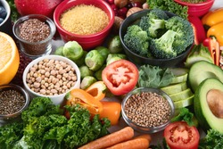 Health vegan and vegetarian food concept. Foods high in  antioxidants, fiber, smart carbohydrates and vitamins.