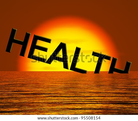 Health Word Sinking Showing Unhealthy Or Sick Conditions