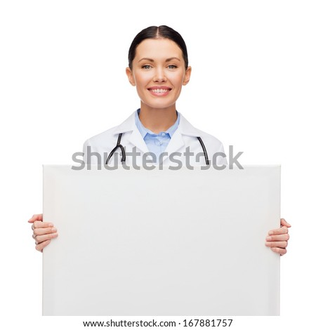 healthcare, advertisement and medicine concept - smiling female doctor with stethoscope with white blank board