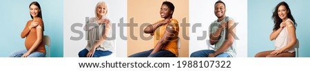 Healthcare And Inoculation Concept. Portraits Of Smiling Diverse Patients Showing Vaccinated Arms With Plaster On Shoulders After Coronavirus Vaccination. Studio Collage, Panorama. Antiviral Vaccine
