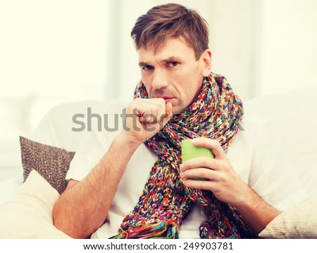 healthcare and medicine concept - ill man with flu at home #249903781