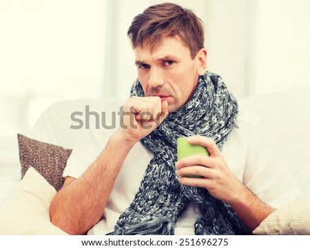 healthcare and medicine concept - ill man with flu at home #251696275