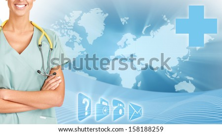 Healthcare banner card. Global Scientific research background.