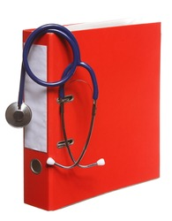 Healthcare, blue stethoscope and red file folder isolated on white