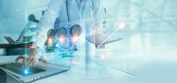 Healthcare business graph data and growth, Medical examination and doctor analyzing medical report on network connection on virtual screen. Healthcare investment and financial.