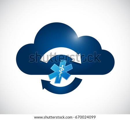 healthcare cloud computing cycle icon isolated over white background