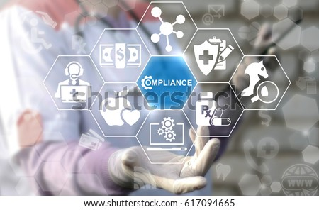 Healthcare Compliance. Medicine observation service concept. Doctor offers icon compliance gear on virtual screen. Medical governance modernization healthy strategy technology