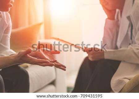 Healthcare concept of professional psychologist doctor consult in psychotherapy session or counsel diagnosis health. Women's Health concept.