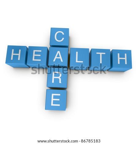 Healthcare crossword on white background, 3D rendered illustration
