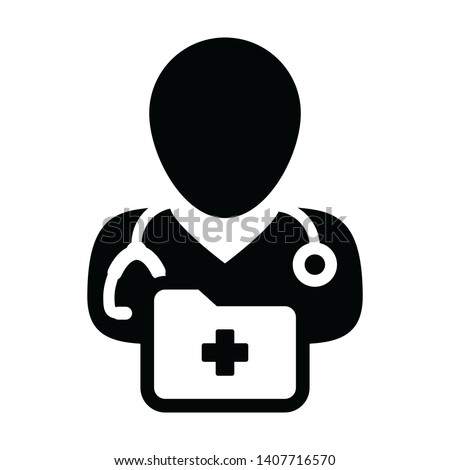 Healthcare icon vector male doctor person profile avatar with stethoscope and medical report folder for medical consultation in Glyph pictogram illustration
