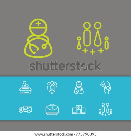 Healthcare icons set with donate box, medical assistance and doctor elements. Set of healthcare icons and doctor bag concept. Editable  elements for logo web mobile app UI design.