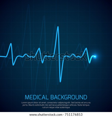 Healthcare medical background with heart cardiogram. Cardiology concept with pulse rate diagram. Digital cardiogram, illustration of diagnostic curve cardiogram