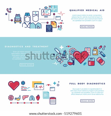 Healthcare, medical services banners set. Qualified aid, diagnostics and treatment illustration #519279601