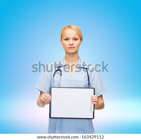healthcare, medicine, advertisement and sale concept - smiling female doctor or nurse with stethoscope and white blank clipboard