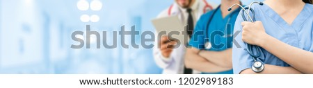 Healthcare people group - Professional doctor working in hospital office or clinic with other doctors, nurse and surgeon. Healthcare institute people and doctor staff service concept.