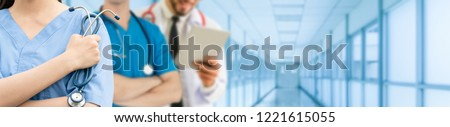 Healthcare people group. Professional doctor working in hospital office or clinic with other doctors, nurse and surgeon. Medical technology research institute and doctor staff service concept. #1221615055