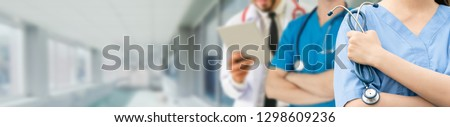 Healthcare people group. Professional doctor working in hospital office or clinic with other doctors, nurse and surgeon. Medical technology research institute and doctor staff service concept. #1298609236
