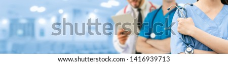 Healthcare people group. Professional doctor working in hospital office or clinic with other doctors, nurse and surgeon. Medical technology research institute and doctor staff service concept. #1416939713