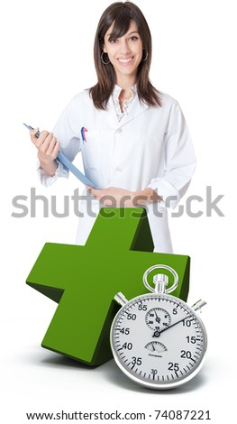 Healthcare professional, a green cross and a chronometer