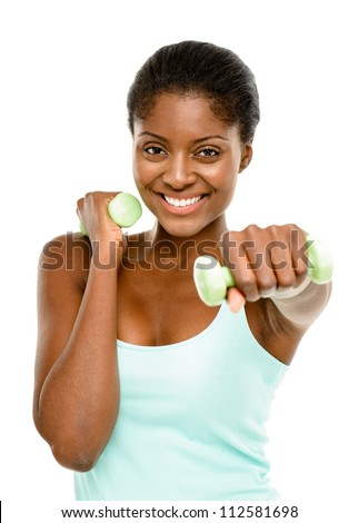 Healthy African American woman exercising with dumbbells isolated on white backgound