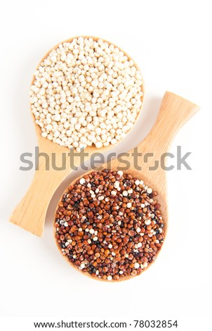 Healthy Alternative to Meat, Red and Whole Grain Quinoa on Bamboo Spoons