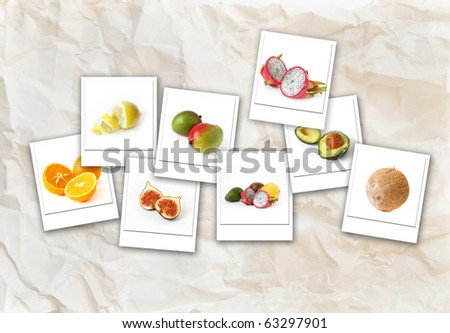 Healthy and fresh fruits - collage composition