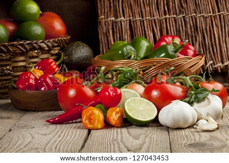 Healthy and fresh mexican vegetables in a close-up image