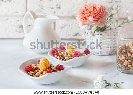 Healthy and healthy Breakfast of muesli and fresh raspberries and strawberries with yogurt on a light background