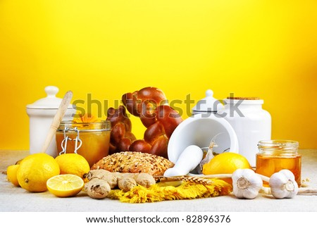Healthy and organic food assortments with kitchen utensils, still life.