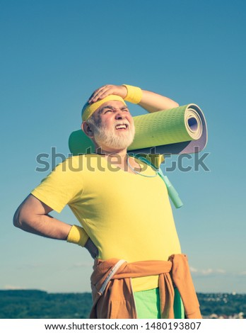 Healthy and sport. Like sports. Grandfather pensioner. Grandfather sportsman. Grandfather sportsman on blue sky backgrounds. Healthcare cheerful lifestyle