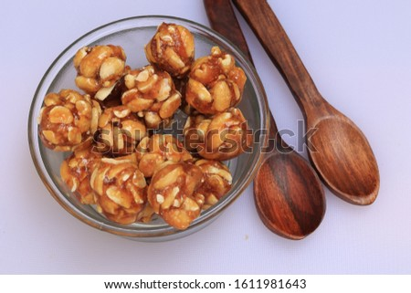 Healthy and sweet groundnut or peanut and Jaggery Laddoo