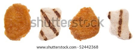 Healthy and Unhealthy Chicken Nuggets Isolated on White.