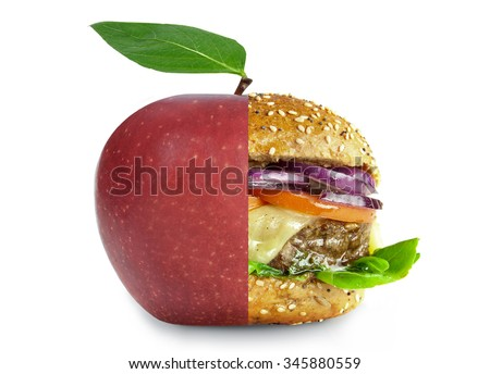 Healthy and unhealthy food choice concept