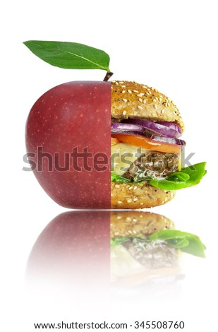 Healthy and unhealthy food concept #345508760