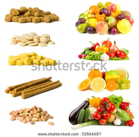 Healthy and unhealthy foods selections isolated on white