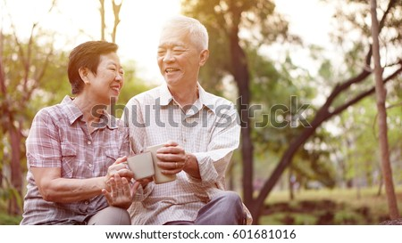 healthy asian senior couple...