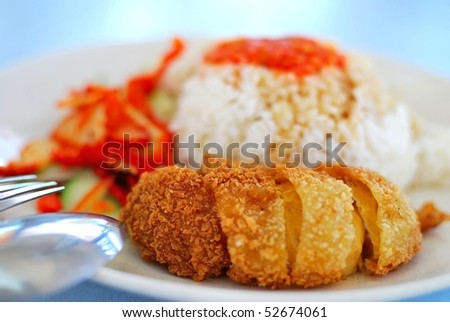 Healthy Asian style vegetarian chicken rice with spicy chili sauce and pork slices. Concepts such as diet and nutrition, healthy eating and lifestyle, and food and beverage.