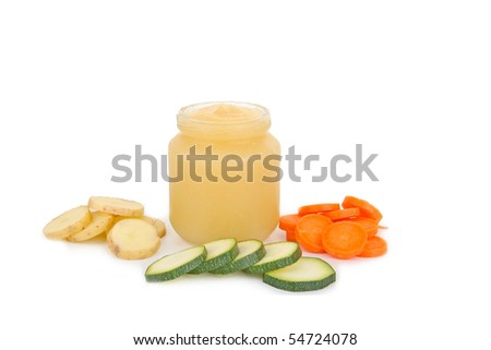 healthy baby food on white background - stock photo