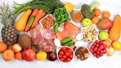 Healthy balanced food with ingredients for dietary, vegetables, fruits, nuts, meat, fish for weight loss, the concept of a healthy lifestyle.Organic remedies against viruses, selective focus ,