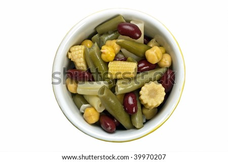 Healthy bean salad with baby corn