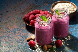 healthy berry smoothies with oatmeal, horizontal