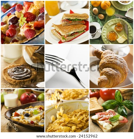 healthy breakfast collage made from nine photographs