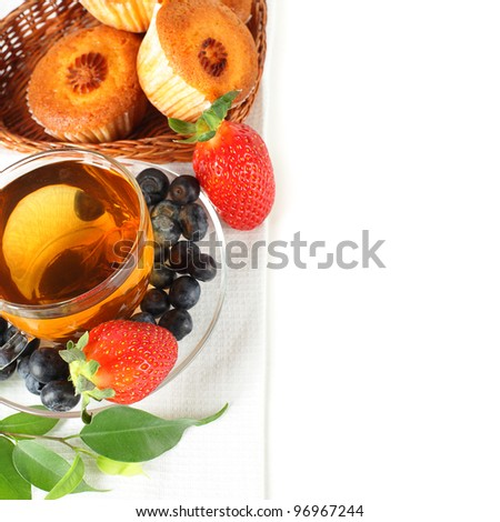 Healthy breakfast - fruit, tea and muffins