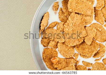 Healthy breakfast - milk with corn flakes