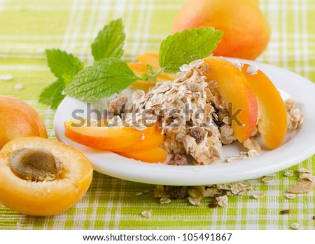 Healthy breakfast - muesli and fruits