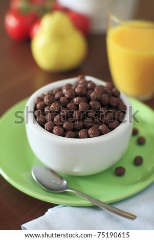 Healthy breakfast. Muesli, fruits and orange juice. #75190615