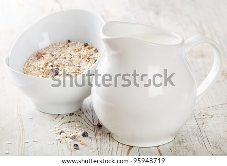 Healthy breakfast - muesli, milk