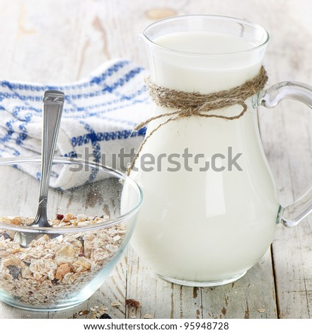 Healthy breakfast - muesli, milk